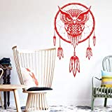 YuanMinglu Indian Dream Catcher Vinyl Owl Art Design decoración del hogar Pegatinas de Pared decoración de la casa Rojo 58cm x 102cm