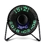 LEDMOMO Mini Desktop USB LED Uhr Lüfter Echtzeit-Kalender Temperaturanzeige Fan für Home Office