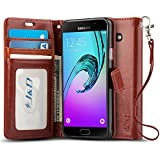 Coque Galaxy A3, J&D [Stand de Portefeuille] Etui Portefeuille de Protection Antichoc avec Stand pour Samsung Galaxy A3 - Marron