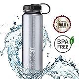 720°DGREE Trinkflasche simplBottle Wasserflasche aus Tritan 1L, 1000ml | Auslaufsichere Flasche mit Weithals für Sport, Outdoor | Perfekte Sportflasche Grau - BPA Frei | Gym Bottle - Robust