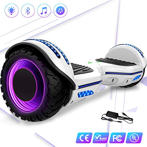 Mega Motion 6.5Pulgadas Monopatín Eléctrico E-Star 2018 Nuevo Scooter eléctrico Self-Balance - con RGB LED en Las Ruedas- Altavoz Bluetooth - 700W Motor - Modelo Gyropod