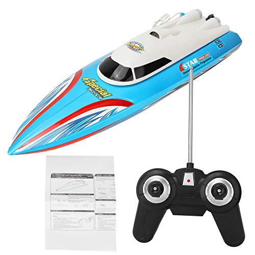 Ferngesteuertes Boot für Pools und Seen, Hochgeschwindigkeits RC Boote, Schnellboot Spielzeug, elektrische Mini Infrarot RC Rennboote für Erwachsene und Kinder(Blau)
