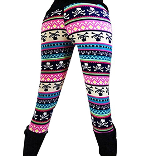 Pantalones leggins de las mujeres, RETUROM Moda cómoda mujeres elasticidad Skinny Tribal impreso elástico pantalones polainas Dama (G)