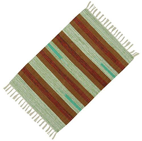 Handgewebte Baumwolle Jute Bodenmatte Wurf Läufer Teppich Dari Streifenmuster Teppich 36