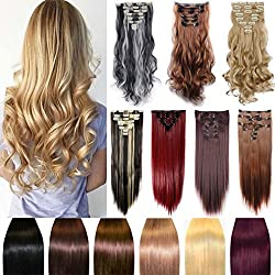 FIRSTLIKE 23 Straight Dark Red Clip In Hair Extensions Thick Full Head Long 8 Pieces With 18 Clips Attached Wefts Soft Silky For Women Ladies Beauty