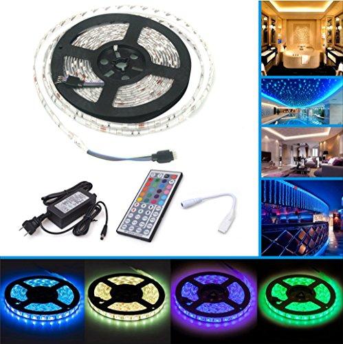 LED Strip Licht Streifen 5m, wasserdicht wechselnde Farben RGB SMD5050 150 Leds, LED-Leiste Kit & RF Mini 44 -Tasten Fernbedienung + 12 V Strom Versorgung , selbstklebende Lichtleiste