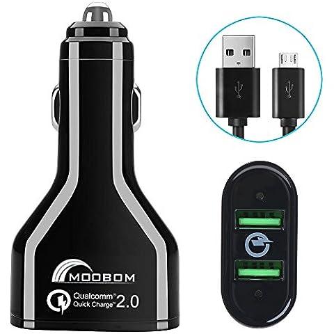 Moboom [Qualcomm certificato] carica rapida QC 2.0 caricabatteria da auto 36W due porte USB Rapid 5V / 2.4A, 9V / 2A, 12V / 1.5A caricabatteria da auto nero per nota 5 4 Bordo, iPhone, LG, HTC Samsung Galaxy S6, S6 bordo , Riva +, Nota5 etc.