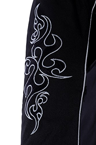 1509 Bangla Damen Motorrad Jacke Bikerjacke Textil schwarz mit Tribalmuster Gr. S - 4