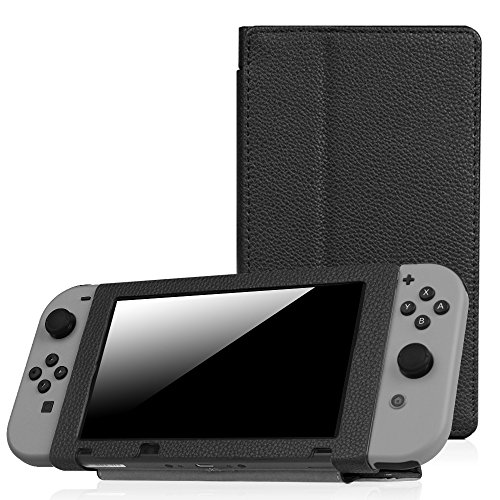 Price comparison product image Fintie Protective Case for Nintendo Switch - Premium PU Leather Slim Fit Play Stand Cover for Nintendo Switch 2017, Black