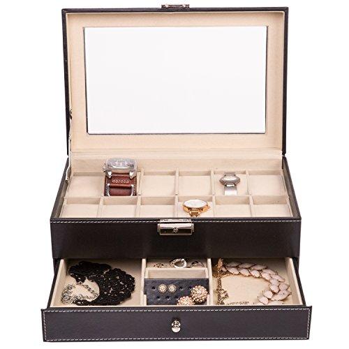 tresko-joyas-Joyero-Relojes-Caja-Reloj-Joyero-Reloj-maletn-para-la-Viaje-de-piel-sinttica-en-negro-con-12-compartimentos-Reloj-joyas-pendientes-aumentos-y-anillo-de-desplegado-Cojn