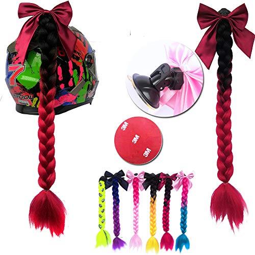 8c51096b4dc527 3T-SISTER Bowknot Helm geflochtener Pferdeschwanz Motorrad Fahrrad Helm Haar  Zöpfe Haarteile für Erwachsene