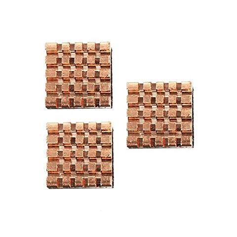 Doradus Dissipateur thermique en cuivre pur de refroidissement 3 pièces kit fin de Raspberry Pi