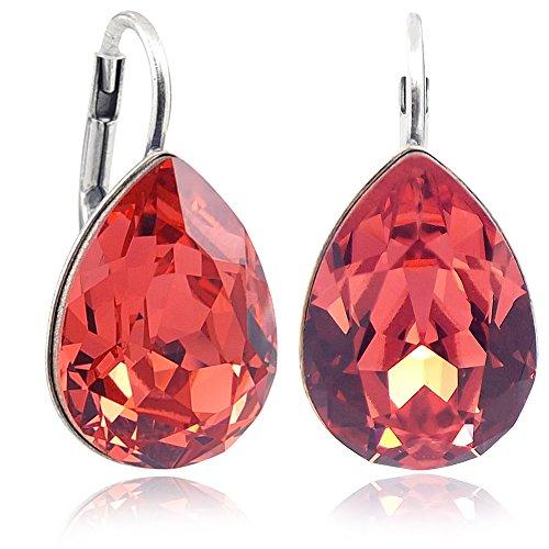 Ohrringe Orange mit Kristallen von Swarovski® Silber Koralle NOBEL SCHMUCK