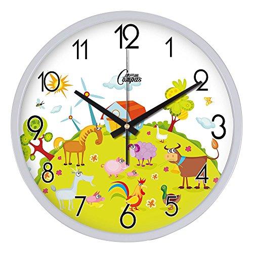 Zeitgenössische Ranch (Beloved clock Wanduhr Modern Neu Für Jeden Raum präzise Kreative Cartoon Ranch Metall Quarzuhr Leisen Wohnzimmer Uhr Kreative große Halterung, 14 Zoll (35,5 cm) im Durchmesser, Weiß)