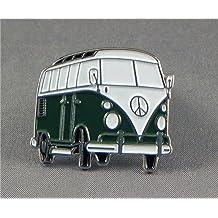 Pin de metal esmaltado, insignia broche verde oscuro Volkswagen VW Camper Van Transporter