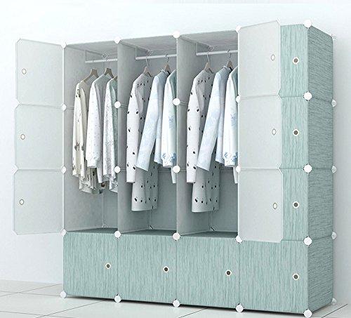 Kleiderschrank Schrank Fertig (PREMAG Kleiderschrank aus Kunststoff-Modulen zur Aufbewahrung von Kleidung, Accessoires, Spielzeug, Handtüchern oder Büchern. Für Zuhause oder Büro. Fertig in grünem Holzstil mit feinen Adern (16 Würfel))