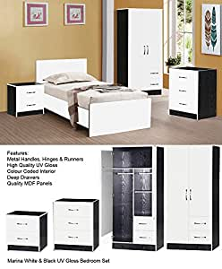 Marina ultra high gloss 3 piece trio bedroom sets for Bedroom furniture union nj