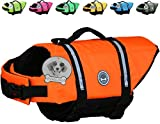 Vivaglory Dog Life Jacket with Reflective Straps and Rescue Handle, Quick Release Easy-Fit Adjustable, Extra Bright Orange, Extra Small