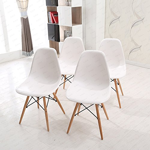 Schindora® 4 Pieces White Dining Chair - Retro Designer Style Eiffel Inspired Side