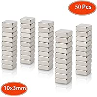 Neodymium Magnets, Strong N45 Grade, Mini Craft Square Magnets 10 x 10 x 3mm, for Fridge Whiteboard Magnetic Mag, Neo Neodymium Rare Earth 50pcs