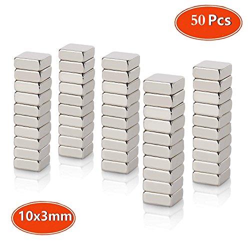 Neodym Magnet, Mini Magnete, Quadratisch N45 Stärke (10 x 10 x 3mm) Handwerk Modelle DIY personalisierte Multi-Use für Kühlschrank Tür Whiteboard Magnetische Karte Magnetische Bildschirm, 50 Stück - Quadratische Magnete