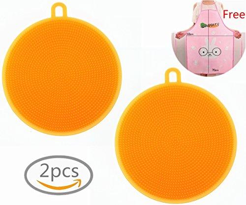 Silikon Schwamm, Morbuy Multifunktions Küche Waschen Werkzeug für Topf Pfanne Schüssel Obst Gemüse-Reiniger Lebensmittel-Grad Wäscher Antibakterielle Silikonschwamm (Orange)
