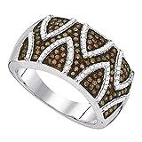 0,65Karat (ctw 10Karat Weißgold/Cognac- und Diamant-Ring,