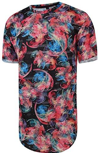 Pizoff Unisex Hip Hop Basic langes T Shirts mit verschlissenem Effekt Batik und Bunt Batik Farbkleks blumen Qualle Print Y1727-11-M