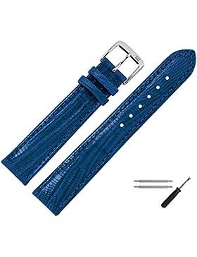 Uhrenarmband 18mm Leder blau Prägung, Eidechse - inkl. Federstege & Werkzeug - Lederband mit Eidechsenprägung...