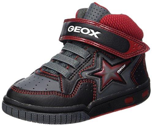 Geox Jungen Jr Gregg A Hohe Sneaker, Schwarz (Black/Red), 31 EU (Kinder Turnschuhe Geox)