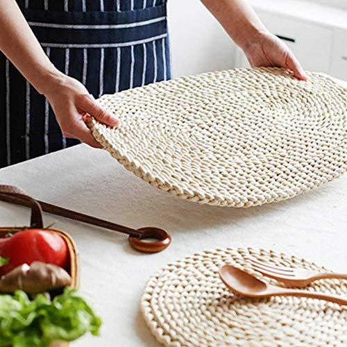 OLDK Woven Dining Table Mat Wärmedämmung Topflappen Runde Untersetzer Kaffee Trinken Tee Tasse Tisch Tischsets Mug Coaster, Ellipse -