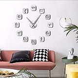 Wmbz Logiciel De Communication sans Cadre Signe 3D Bricolage Horloge Murale Autocollante Calme Balayage Moderne De Mode Maison Décoration Horloge Montre Argent 47Inch...