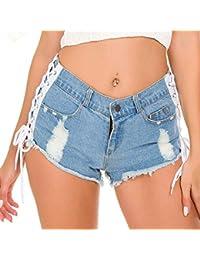 52632b54d7 Flaco Pantalones Cortos elásticos Pantalones Club Nocturno Club Fiesta  Verano Pitillo Anillo Vaqueros Rotos Cortos de