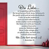 KLEBEHELD Wandtattoo Das Hohelied der Liebe - 1. Korinther 13   Bibel Zitat   Größe 53x60cm, Farbe gold