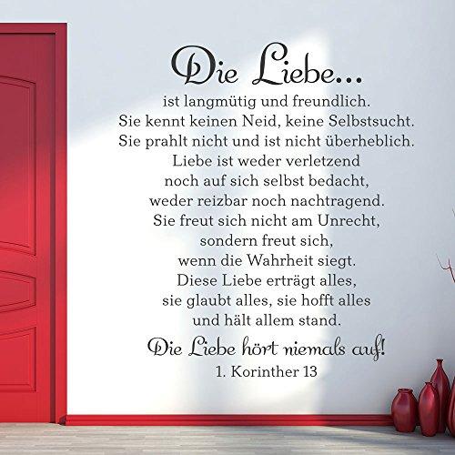 KLEBEHELD® Wandtattoo Das Hohelied der Liebe - 1. Korinther 13   Bibel Zitat   Größe 70x80cm, Farbe schwarz