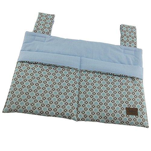 Bettutensilo, Wandutensilo, Betttasche mit 2 Taschen, Klettverschluß, 39x26cm, Blume blau mint ❤ SmukkeDesign NEU (Blumen-wand-tasche)