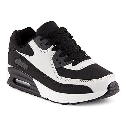 new products 15a64 59dbd Fusskleidung Herren Damen Sportschuhe Dämpfung Neon Sneaker Laufschuhe  Runners Gym Unisex Schwarz Weiss EU 38
