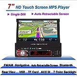 Autoradio, Stereo Universale da 7 pollici, Lettore MP5 con Telecomando Supporto per Touch Screen HD, GPS Retraibile Automatico, Bluetooth, Telecamera Posteriore, Ingresso AUX, USB, TF, Modello 7158G