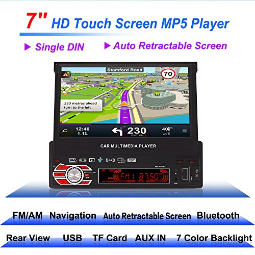 Radio para Coche universal, Auto Estéreo de 7 pulgadas con GPS Retráctil Automático, Cámara Trasera, Mando a Distancia Soporte para Touch Screen HD, Modelo 7158G