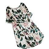 Kanpola Damen Kleider Elegant Frauen Frühling Große Größen Leinen Baumwolle Langarm Shirt Minikleid Blumen Kleid (EU-48/CN-4XL, Weiß)