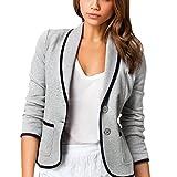 Damen Elegant Kurz Blazer Slim Jacke Jäckchen Mantel Anzug Jacke Gräulich 5XL