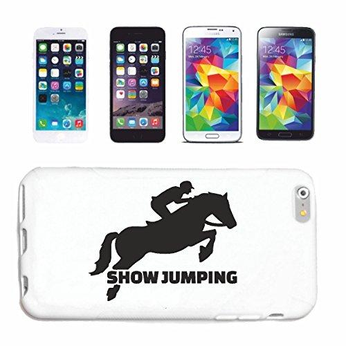 """Preisvergleich Produktbild Handyhülle iPhone 4 / 4S """"SHOW JUMPING PFERDE REITEN REITER PFERDESPORT PFERDEKOPF DRESSURREITEN RODEO COWBOY SPRINGREITEN REITSPORT HENGST PONY"""" Hardcase Schutzhülle Handycover Smart Cover für Apple iPhone in Weiß"""