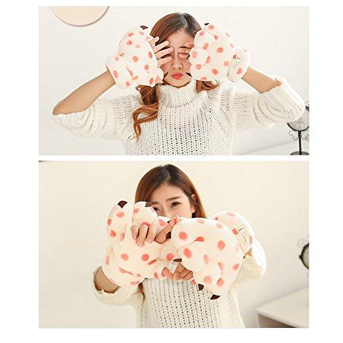 Mode unisexe Réchauffez Adorable Animal Cartoon animaux Paw Claw Finger moitié Gants mitaines mignon M blanc