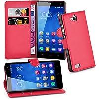 Huawei 3C Hülle in ROT von Cadorabo - Handyhülle mit Kartenfach und Standfunktion für Huawei 3C Case Cover Schutzhülle Etui Tasche Book Klapp Style in KARMIN ROT