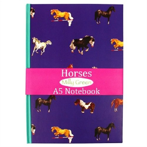 Milly Green Notizbuch, A5, liniert, Pferdemotiv, Violett