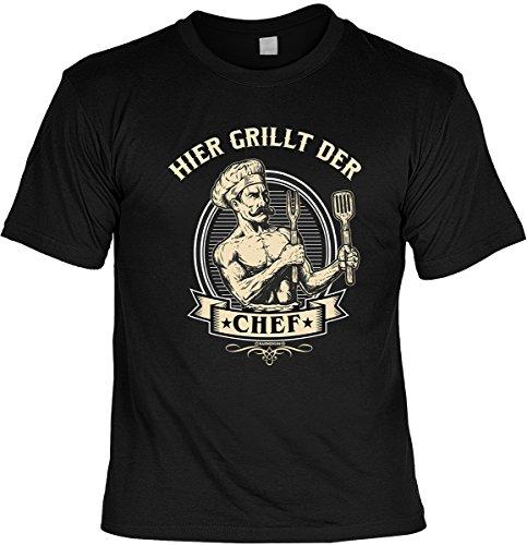 T-Shirt mit Grill Motiv: Hier grillt der Chef - Cooles Geschenk für Hobbygriller - Im SET mit gratis Urkunde - Geburtstag - schwarz Schwarz