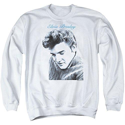 Elvis - Herren Skript Pullover Pullover, Large, White (Sweatshirt Elvis)