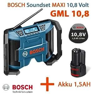 Bosch GML 10,8V-Li Radio de chantier sans fil avec haut-parleurs 2 x 5W, câble AUX-In et batterie 10,8V 1,5 Ah