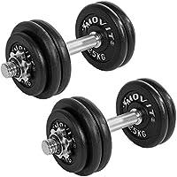 MOVIT Gusseisen Kurzhantel 2er Set, Varianten 20kg, 30kg, 40kg, 50kg, 60kg, gerändelt mit Sternverschlüssen