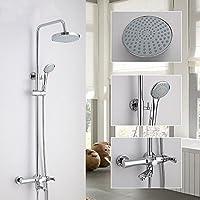 BY-Parete montato moderna parete spruzzo rotondo top set doccia, doccia in ottone con doccetta, semplice vasca doccia testa 90 ° girevole rubinetto
